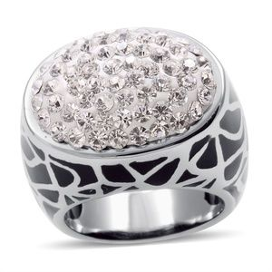 Sparkly Austrian Crystal Black &Silver Ring Size 6